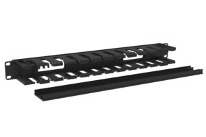 1U Black Cable Bar with 12 Slots and Plastic Cover 2