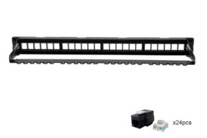 CAT5e UTP 1U 4x6, 24port Tooless Keystone Jack Patch Panel with Cable Manager 2