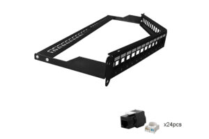 CAT6 UTP 1U 24port Angled Black Keystone Jack Patch Panel with Cable Manager 1