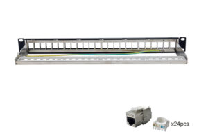 CAT6 STP 1U 24port Tooless Keystone Jack Patch Panel with Cable Manager 1