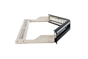Cat 5e STP 1U 24port Angled Keystone Jack Patch Panel with Cable Manager 1